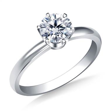 Six Prong Round Solitaire Diamond Engagement Ring in 14K White Gold