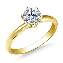 Six Prong Round Solitaire Diamond Engagement Ring in 14K Yellow Gold | B2C Jewels