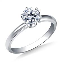 Six Prong Round Solitaire Diamond Engagement Ring in 18K White Gold | B2C Jewels