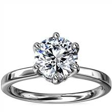 Six-Prong Solitaire Plus Hidden Halo Diamond Engagement Ring in 14k White Gold | Blue Nile
