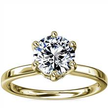 Six-Prong Solitaire Plus Hidden Halo Diamond Engagement Ring in 14K Yellow Gold | Blue Nile