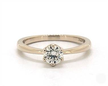Sleek Crown Basket Solitaire Engagement Ring in 18K Yellow Gold 4mm Width Band (Setting Price)