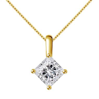Slim Bail Princess Diamond Solitaire Pendant in 18K Yellow Gold