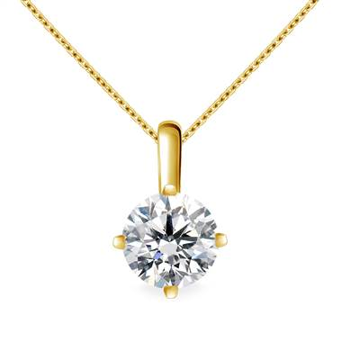 Slim Bail Round Diamond Solitaire Pendant in 14K Yellow Gold