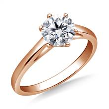 Solitaire Cathedral Engagement Ring Mounting in 18K Rose Gold | B2C Jewels
