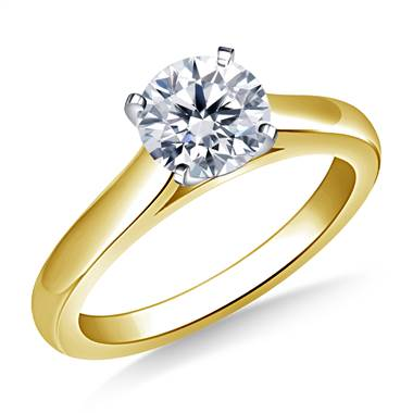 Solitaire Four Prong Cathedral Engagement Ring Mounting Curved in 14K Yellow Gold (2.4 mm)