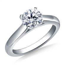 Solitaire Four Prong Cathedral Engagement Ring Mounting Curved in Platinum (2.4 mm)   B2C Jewels