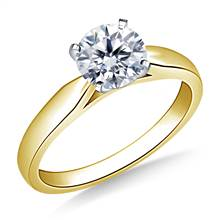 Solitaire Four Prong Tapered Cathedral Engagement Ring Mounting in 14K Yellow Gold(2.4 mm) | B2C Jewels