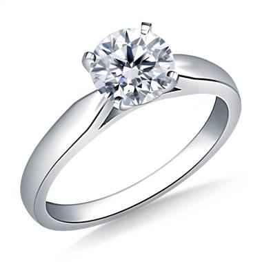 Solitaire Four Prong Tapered Cathedral Engagement Ring Mounting in 18K White Gold (2.4 mm)