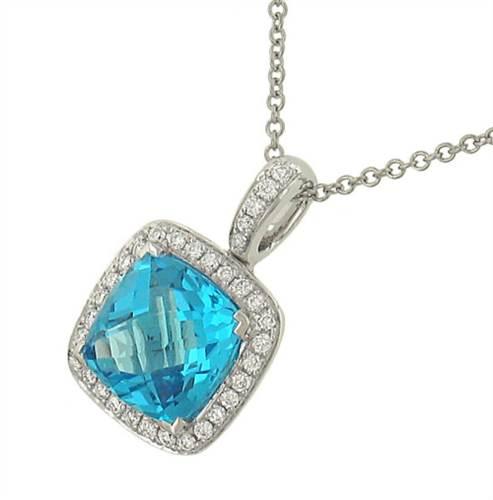 Solomon P467-BT Halo Style Blue Topaz and Pave Diamond Pendant