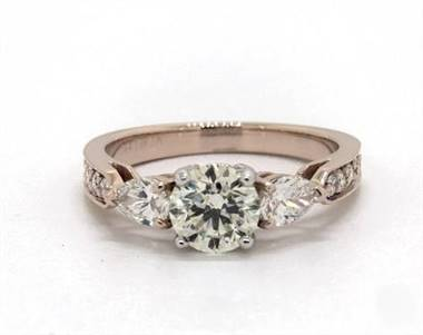 Sophisticated Three-Stone Pear & Pave Engagement Ring in 4mm 14K Rose Gold (Setting Price)