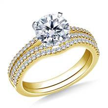 Split Shank Diamond Engagement Ring with Matching Band in 14K Yellow Gold (3/8 cttw.) | B2C Jewels