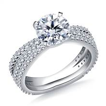 Split Shank Diamond Engagement Ring with Matching Band in 18K White Gold (1.00 cttw.) | B2C Jewels
