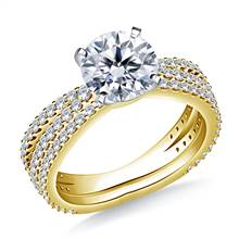 Split Shank Diamond Engagement Ring with Matching Band in 18K Yellow Gold (1.00 cttw.) | B2C Jewels