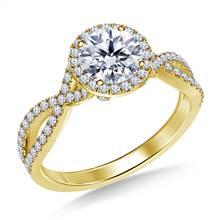 Split Shank Diamond Halo Engagement Ring in 18K Yellow Gold   B2C Jewels