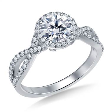 Split Shank Diamond Halo Engagement Ring in Platinum