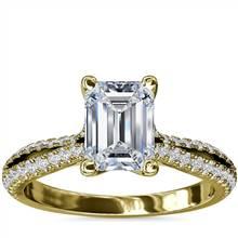 Split Shank Emerald Cut Diamond Engagement Ring in 14k Yellow Gold (1/4 ct. tw.) | Blue Nile