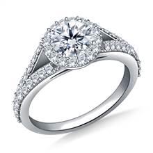 Split Shank Halo Diamond Engagment Ring in 18K White Gold | B2C Jewels