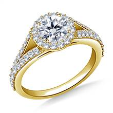 Split Shank Halo Diamond Engagment Ring in 18K Yellow Gold | B2C Jewels