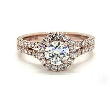 Split Shank Halo Pave 1.03ctw Engagement Ring in 14K Rose Gold 3.2mm Width Band (Setting Price)