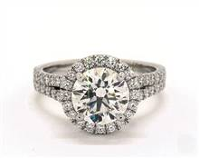 Split Shank Halo Pave 1.03ctw Engagement Ring in 14K White Gold 3.2mm Width Band (Setting Price) | James Allen
