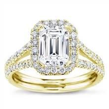 Split Shank Halo Setting for Emerald Cut Diamond   Adiamor
