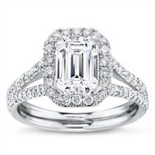 Split Shank Halo Setting for Emerald Cut Diamond | Adiamor