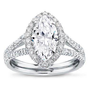 Split Shank Halo Setting for Marquise Cut Diamond
