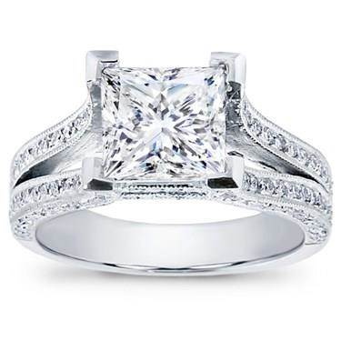 Split Shank Pave Setting for Princess Cut Diamond
