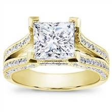 Split Shank Pave Setting for Princess Cut Diamond | Adiamor
