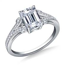 Split Shank Scrolled Diamond Accent Vintage Engagement Ring in 18K White Gold | B2C Jewels