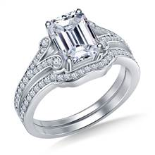 Split Shank Scrolled Diamond Vintage Diamond Ring with Matching Band in 18K White Gold | B2C Jewels