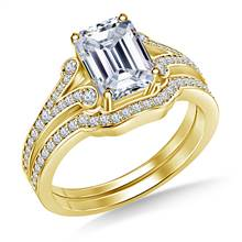 Split Shank Scrolled Diamond Vintage Diamond Ring with Matching Band in 18K Yellow Gold | B2C Jewels