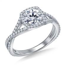 Split Shank Twist Diamond Halo Engagement Ring in 18K White Gold | B2C Jewels