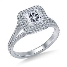Square Cut Double Halo Split Shank Engagement Ring in 18K White Gold | B2C Jewels