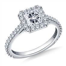 Square Halo Diamond Engagement Ring In 14K White Gold | B2C Jewels