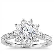 Starburst Floral Diamond Halo Engagement Ring in 14k White Gold (3/8 ct. wt.) | Blue Nile