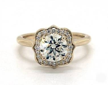 Striking Vintage Halo Engagement Ring in 14K Yellow Gold 2mm Width Band (Setting Price)