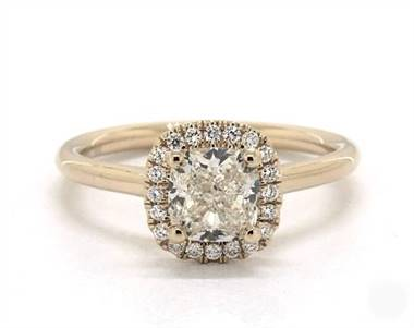 Stunning Cushion Halo .12ctw Engagement Ring in 1.8mm 14K Yellow Gold (Setting Price)