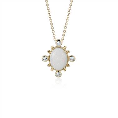"""Sunburst Opal and White Sapphire Pendant in 14k Yellow Gold (10x8 mm)"""