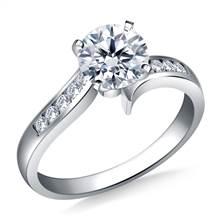 Swirl Channel Set Diamond Engagement in 18K White Gold (1/6 cttw.) | B2C Jewels