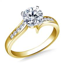 Swirl Channel Set Diamond Engagement in 18K Yellow Gold (1/6 cttw.) | B2C Jewels