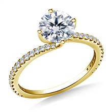 Swirl Style Solitaire Engagement Ring in 14K Yellow Gold | B2C Jewels