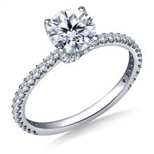Swirl Style Solitaire Engagement Ring in 18K White Gold | B2C Jewels