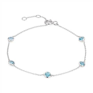 Swiss Topaz Stationed Bezel-Set Bracelet in 14k White Gold (3mm)
