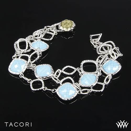 Tacori SB11505 Island Rains Clear Quartz over Neolite Turquoise Bracelet in Sterling Silver with 18k Yellow Gold Accents