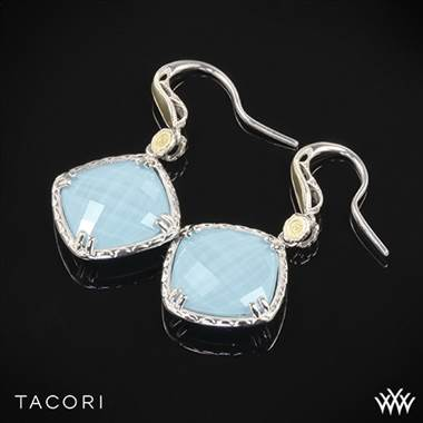 Tacori SE137Y05 Barbados Blue Clear Quartz over Neolite Turquoise Earrings in Sterling Silver with 18k Yellow Gold Accents
