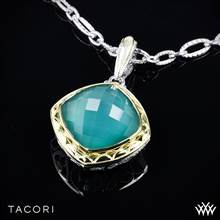 Tacori SN112Y27 Onyx Envy Clear Quartz over Green Onyx Enhancer in Sterling Silver with 18K Yellow Gold Accents - Pendant Only   Whiteflash
