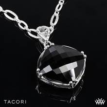 """Tacori SN12819 Classic Rock Black Onyx Pendant in Sterling Silver with 18k Yellow Gold Accents with 18"""" Tacori Chain 