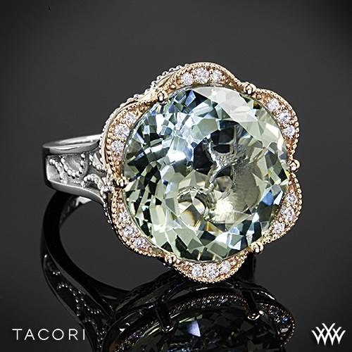 Tacori SR106P12 Seafoam Mint Prasiolite and Diamond Ring in Sterling Silver with 18k Rose Gold Accents